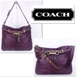 Coach Hamptons Merlot Pebble Leather Hobo Bag
